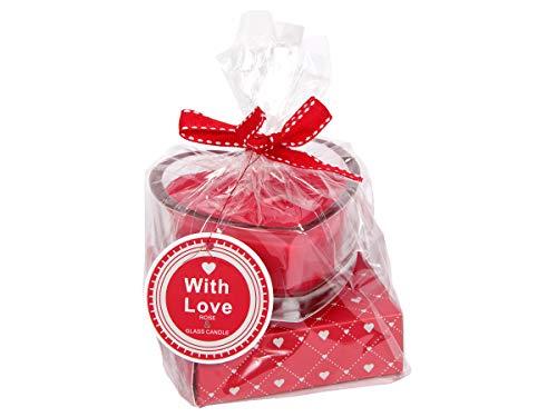 Monsterzeug Liebeskerze mit Rosenduft, Duftkerze im Herz-Glas, Romantisches Geschenk zum Valentinstag