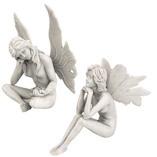 Design Toscano PD91546 The Secret Garden Fairy Statues, 11 Inch, Set of Two Gazing and Pondering, Polyresin, Antique Stone