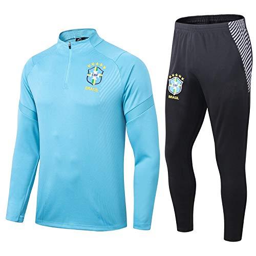 LZMX Brasilien Fußball-Trainingsanzug, langärmelige Rundhalsausschnitt-Fußball Jersey, Fußball-Club Spielanzug, 2-teilig Half-Zip Enge Jersey (Size : L)