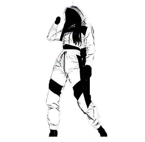 Mxjeeio Traje Deportivo Conjunto de empalmes Reflectante Mujer Costura Chaqueta Reflectante Casual Cremallera Tops Blusas de Manga Larga y Pantalones Luminoso Chándal 2 PCS