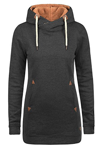 DESIRES Vicky Pile Hood Long Damen Langer Kapuzenpullover Hoodie Pullover Mit Kapuze Und Teddy-Futter, Größe:XS, Farbe:D Gre PIL (P8288)