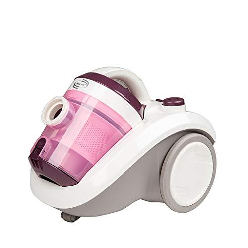 Aspirateur filtre haute puissance 1400W avec filtre cyclone, aspirateur horizontal à poignée multifonctionnelle rouge avec rembobineur et portée étendue, puissance ajustable ( Couleur : Pink )