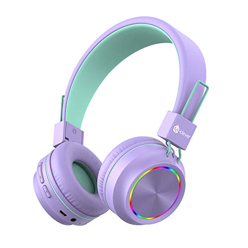 Bluetooth Kids Headphones, iClever,Colorful Lights LED, Kids Headphones...