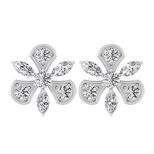 Pendientes casuales de 1/3 ct con certificado de marquese, diamantes de imitación Cluster Halo para novias, boda, aniversario, oro blanco, 10 quilates