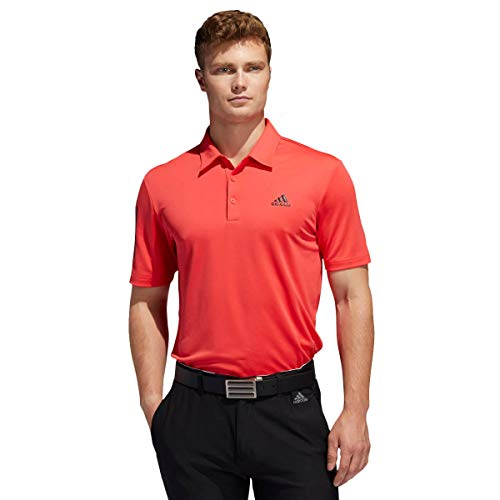 adidas Golf Herren 3-Streifen-Basis Polo-Hemd - Real Coral/Schwarz - XL