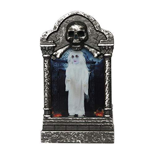 Lámpara de Cementerio LED de Halloween, lápidas, lámpara de Cementerio de Calavera con luz de lápida de Halloween para Suministros de decoración de Yardas de Halloween