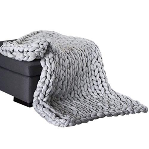 ZHEYANG Kuscheldecke Fleecedecke Daumen Dicke Decke Klimaanlage Abdeckung Decke Handgestrickte Woll Winter-Decke Acryl Wolldecke (Farbe : Gray, Größe : 50x50cm)