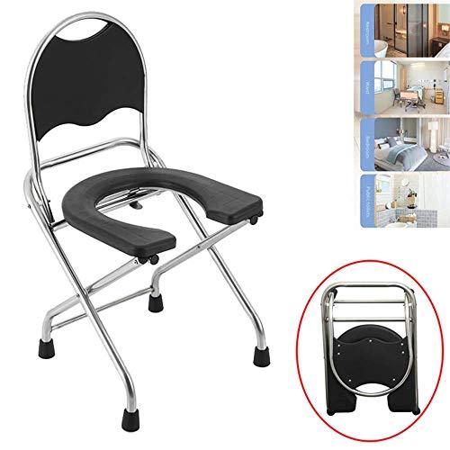 Toilettenstuhl, zusammenklappbar, U-förmig, Sicherheitsduschstuhl, Edelstahl, rutschfest, tragbar, Hockpfanne – 150 kg