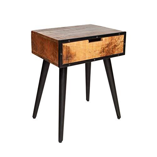 Preisvergleich Produktbild Invicta Interior Massiver Beistelltisch Industrial 45cm Mangoholz Nachttisch mit schwarzen Beinen Tisch Holztisch