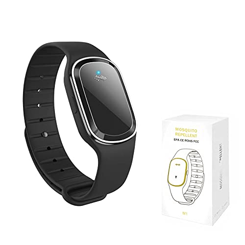 QU.SBEARY Ultrasonic Mosquito Repellent Bracelet Watch Electronic with USB Charging Waterproof Portable Smart Mosquito Anti-Mosquito Bracelet M1 (1 Pack, Black)