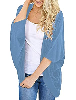 Womens Summer Cardigan Solid Colors 3/4 Sleeve Open Cover Ups (Sky Blue, M) by