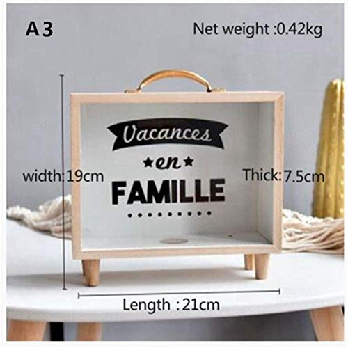 EDCV Houten kunst verse spaarpot slaapkamer desktop decoratie ornamenten diversen opbergdoos rekwisieten, A3