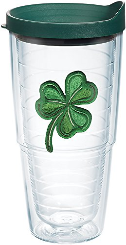 Tervis Shamrock Tumbler with Emblem and Hunter Green Lid 24oz, Clear