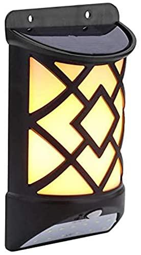 FDABFU Luz de Camping Que Aplica la Pared LED Solar Impermeable Sensor de Movimiento con Efecto de Llama decoración de Patio al Aire Libre lámpara de jardín Pared Solar