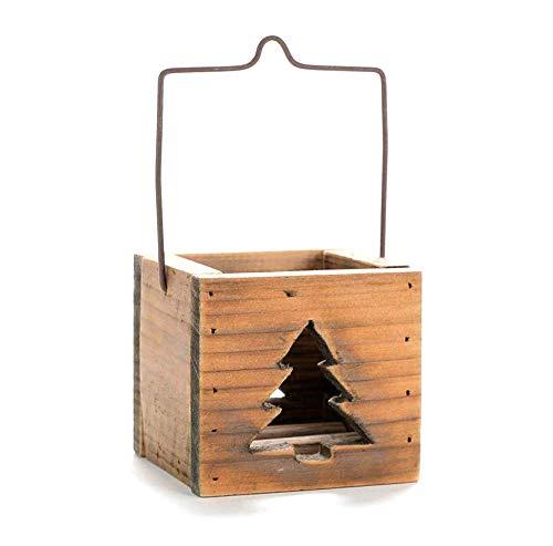 Houten vierkante handmand kandelaar rustiek retro drijfhout decoratie met metalen beugel handhendel tak thee licht houder voor bruiloft en Kerstmis oogstfeest cadeau Christmastree