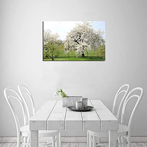 ZHOUHAOMAOYI Wandbilder und gerahmte Bilder mit Kirschblütenmotiv, Franconian Switzerland, für Wohnzimmer, Küche, fertig zum Aufhängen, Frühlingsbaum, 30 x 20 cm