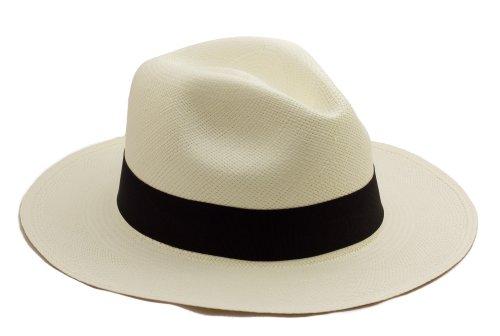 Chapeau Panama Traditionnel. Roulable et tissé. Paille naturelle. Gamme de couleurs. Extrêmement léger et respirable., Noir, 57