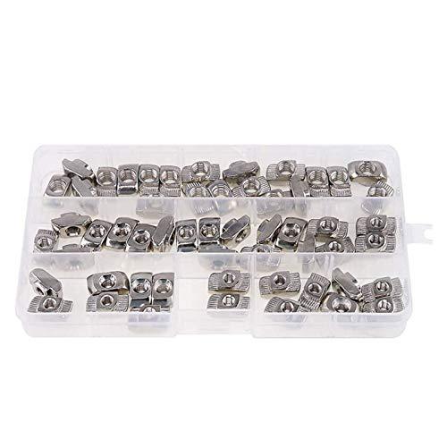4545 Serie T NUTS M5 M6 M8 Hammerkopf Befestigungselement Drop in T Slot Muttern Sortiment Kit für Aluminiumprofil, 60pcs YUAN CHUANG