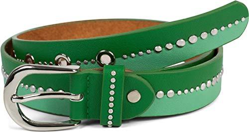 styleBREAKER Damen Gürtel zweifarbig mit runden Nieten, Vintage Nietengürtel, kürzbar 03010095, Größe:85cm, Farbe:Grün