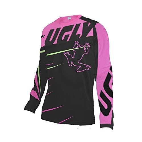 Uglyfrog Winter MTB Jersey Damen Langarm Thermal Fleece Downhill Trikot Warm Rad Trikot Damen Mountainbike Freeride Motocross BMX DH FR Offroad Bekleidung DHRVH02