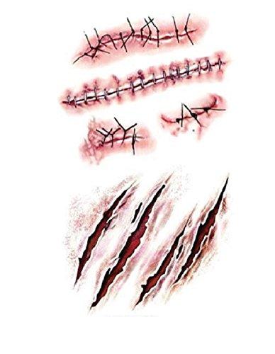 Strass ET Paillettes - Mini Tatouages éphémères Cicatrice et plaie Waterproof - Tatoo temporaire - Bijou de Peau Halloween