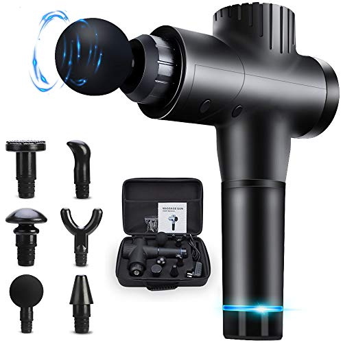 Gifts for Men Muscle Massage Gun, 20 Speeds Deep Tissue Percussion Massager Gun for Relaxation, Handheld Electric Body Massager for Neck and Back Leg Muscle,Carry Case & 6 Heads Included