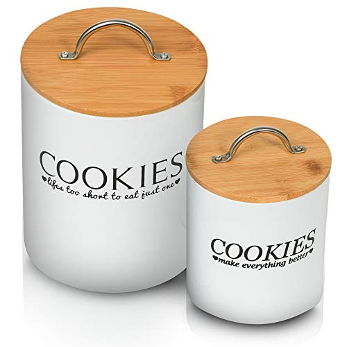 Vintage Cookie Jars – Vintage Cookie Tins for Cookie Counter – White Design – Cookies Holder with Funny Quote – Cookie Jars for Kitchen Counter Set – 2 pieces Cookie Jar Set