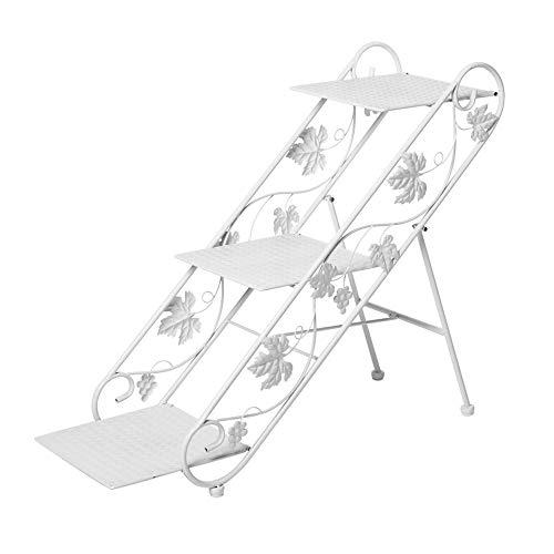 hpll Flower Stand, Iron Art échelle à Plusieurs Niveaux Escabeau de Terre Living Room Jardinière pour intérieur et extérieur Pied de Fleur Ivory White