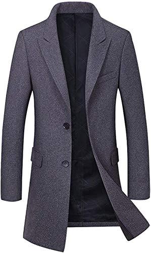 Ranhkdn Men's Basic Decent Wear Button Front Single Breasted Mid-Long Wool Coat