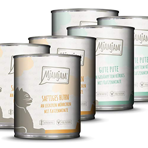 MjAMjAM - Premium natte voering voor katten - monopakket 1 - met kip en kalkoen, 6-pack (6 x 800 g), zonder granen, met extra veel vlees