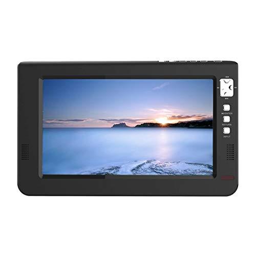 Amusingtao TV analógica Digital 9 Pulgadas 16: 9 Home Car TFT DVBT2 HD con Control Remoto Televisión portátil Mini Soporte Universal 1080p Avión Led B Negro
