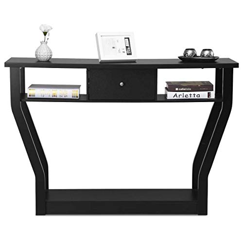 3 Tier Console Table, BestComfort 47' Modern Entryway Wooden Accent Table with Drawer for Living Room, Hallway, Basement