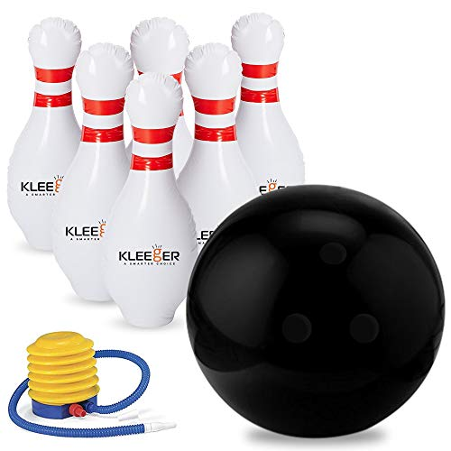 Kleeger Giant Inflatable Bowling Set, 6 Huge Life Size Large Jumbo 24 Inch Pins And Extra Big 18 Inch Ball, Great On Lawn And Yard, Indoor And Outdoor Game For Kids And Adults With Bonus Pump