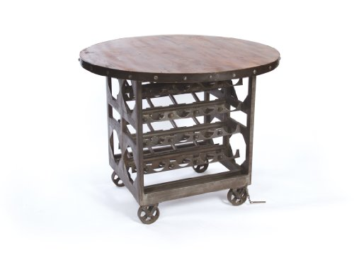 Hot Sale Reclaimed Wood Vintage Industrial Wine Cellar Table
