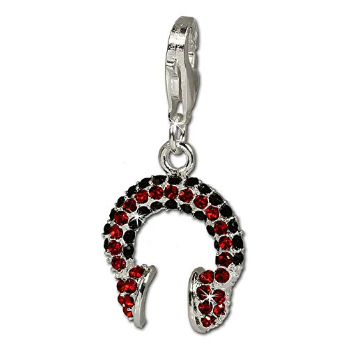 SilberDream Charm / Dijes con Elementos de Swarovski - Auricular rojo / negro shiny - Cierre de Mosquetón - 925/1000 Plata de ley GSC211