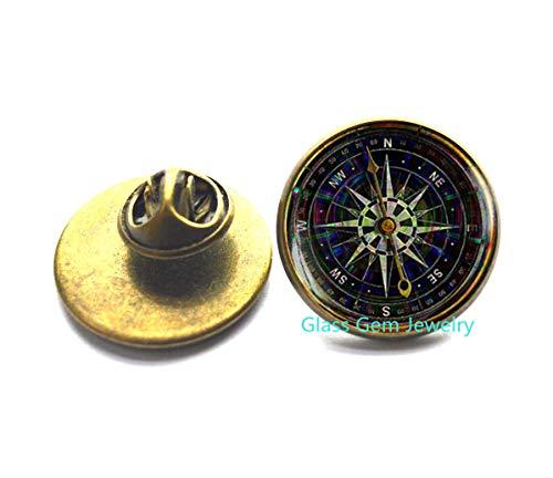 Schwarze Kompass-Brosche, charmante Kompass-Brosche, alte Kompass-Anstecker, Steampunk-Brosche, Reise-Geschenk, kein echter Kompass, Q0065