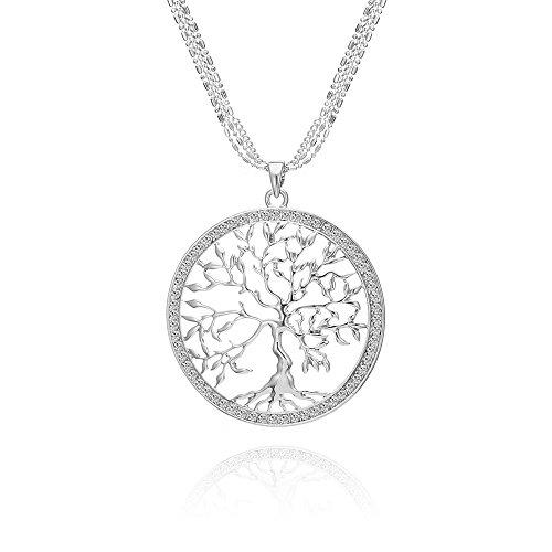 Albero della vita Collana per Donna, Collana con ciondolo celtico con collana a catena lunga in cristallo oro rosa o argento (Placcato argento)