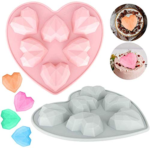 2 Pack Diamond Heart Love Shape Silicone Cake Mold,Nonstick Heart Mousse Cake Mold Trays Silicone Cupcake Mould for Baking Chocolate Brownie Jelly Cheesecake Fondant (2PC)