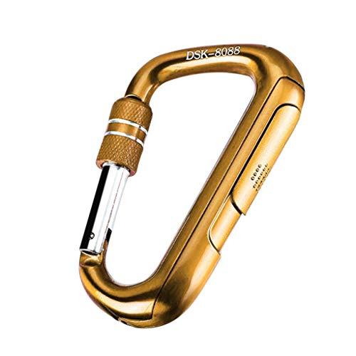 Luccase Zinklegierung USB Feuerzeug Flammenloses Leichter mit USB-Kabel Metall Multifunktional Winddicht Wiederaufladbarer Bergsport Zubehör USB Rauchmelder Schlüsselanhänger (Gelb)