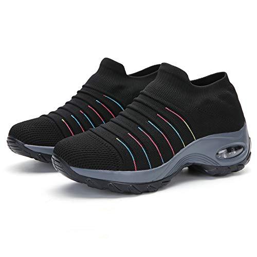 Juan - Zapatillas de deporte de malla livianas para mujer con plataforma cómoda para caminar, correr, deportes, gimnasio, color negro, 39