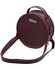 Fantexi Kalimba Storage Bag,Portable Stylish Thumb Piano Soft Case PU Leather Circle Shape Kalimba Storage Bag Multi-Functional Round Gig Bag with Adjustable Strap Dark Brown