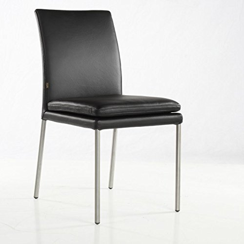 SIX Lederstuhl Ricco Rindsleder Schwarz Leder-Stuhl Lederstühle Edelstahl