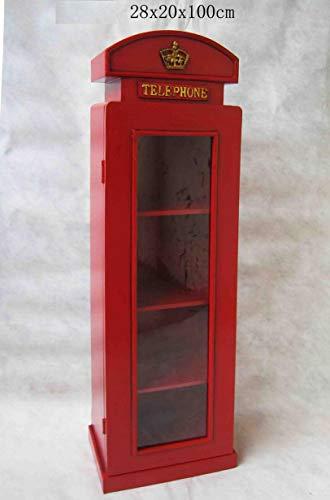 """Retro Vintage Schrank mit Glass """"London Telefonzelle"""" - rot"""