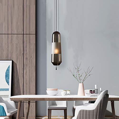 HangRay Luz Colgante pequeña para la cabecera, Pantalla de plexiglás Pantalla/Cuerpo de lámpara Vertical, Ideal para al Lado del sofá, Sala de Estar Restaurante Restaurante,Gray