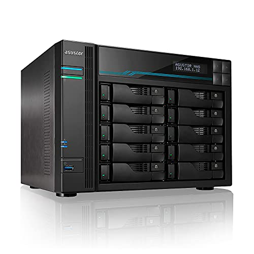 Asustor Lockerstor 10 AS6510T - 10 Bay NAS, 2.1GHz Quad-Core, 2 M.2 NVMe SSD Slot, 10GbE Port, 2.5GbE Port, 8GB RAM DDR4, Enterprise Network Attached Storage (Diskless)