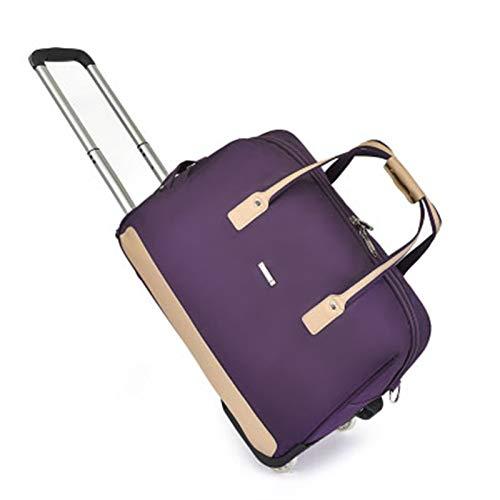 HHTD Resistente al Agua, maletín sobre Ruedas, Negocio y Bolsa de Viaje con asa telescópica, para Hombres/Mujeres (Color : Purple)