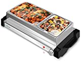 Electric Hot Plate Food Warmer - Dual Buffet Server Chafing Dish Set, Portable Countertop Stainless Steel Electric Warming Tray w/ 2 Section 1.6, 3.2 Qt Serving Containers, Lids - NutriChef