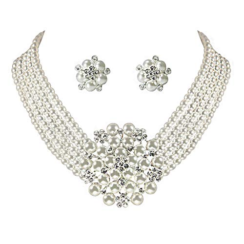 ROFIFY Audrey Hepburn Style Faux Pearl Necklace Set Strand Ear Clip Wedding Breakfast at Tiffany's f - http://coolthings.us
