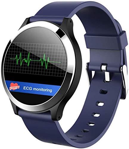 JSL Pantalla de color inteligente pulsera de ritmo cardíaco presión arterial ECG paso de salud deportes reloj hombres y mujeres-azul_L