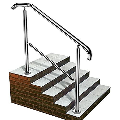 Staircase Handrail Porch Deck Patio Railing for Outdoor and Indoor 330lbs Side Load Stairs Handrailings Stainless Steel Fits 1-5 Steps (Style 1)